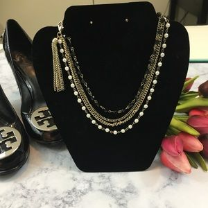 NWT! Pearl and crystal GOLD edgy layer necklace